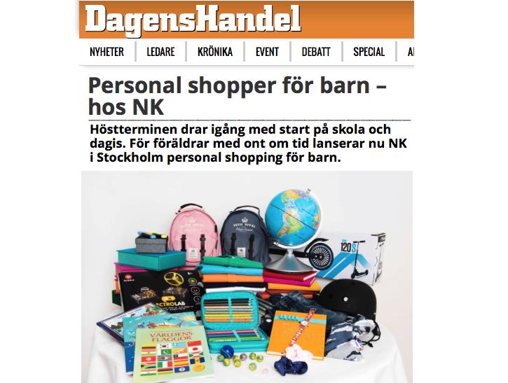 Dagens Handel NK Personal Shopping KIDS
