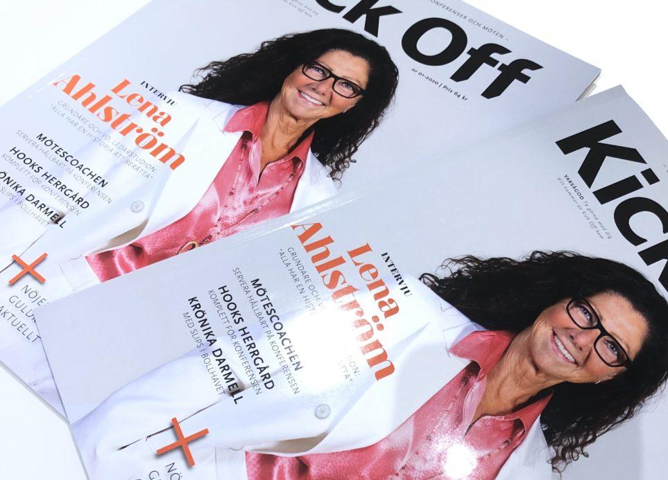 Ledarstudions VD Lena Ahlström på omslaget av Kick Off!