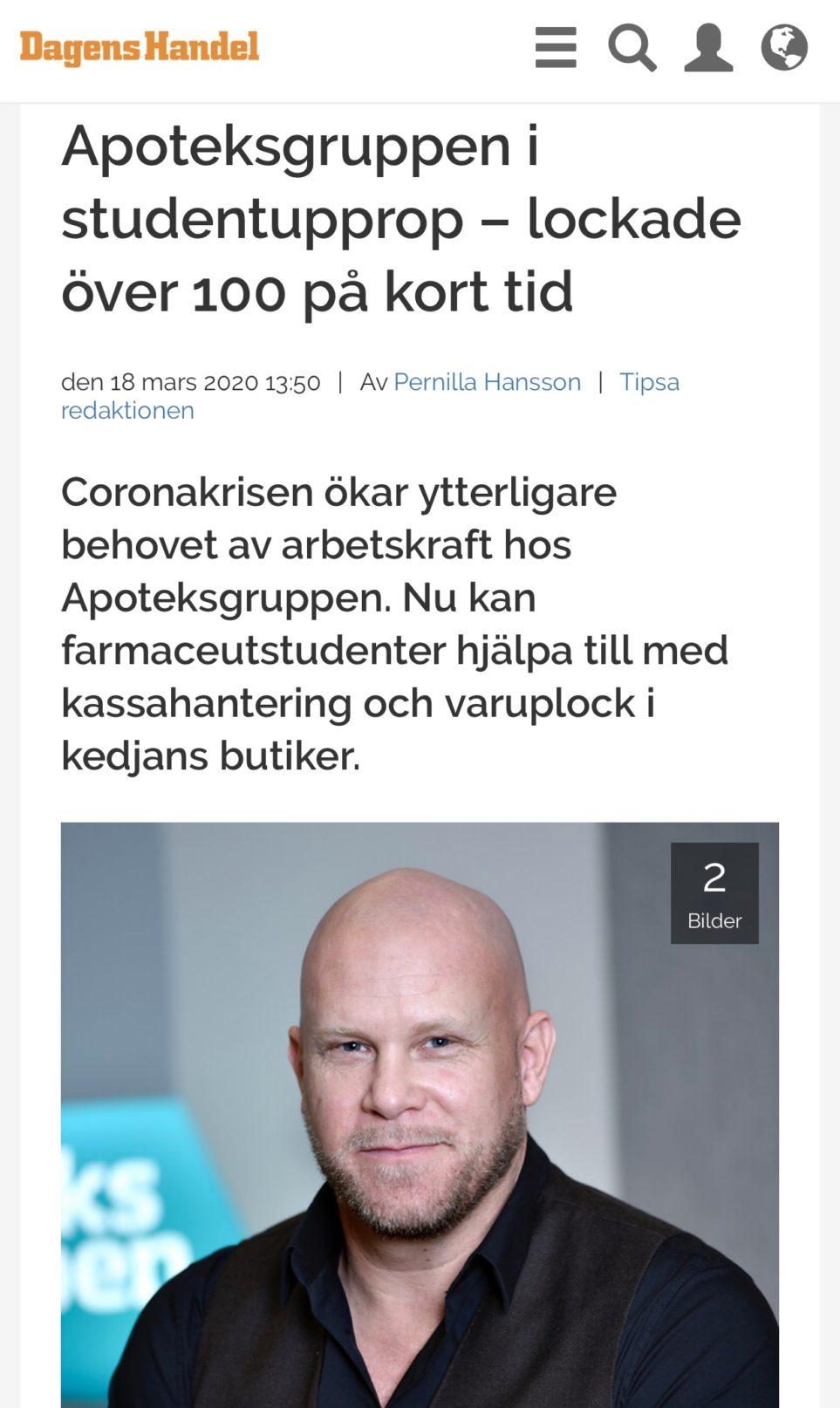 Publicering i Dagens Handel om Apoteksgruppens studentupprop