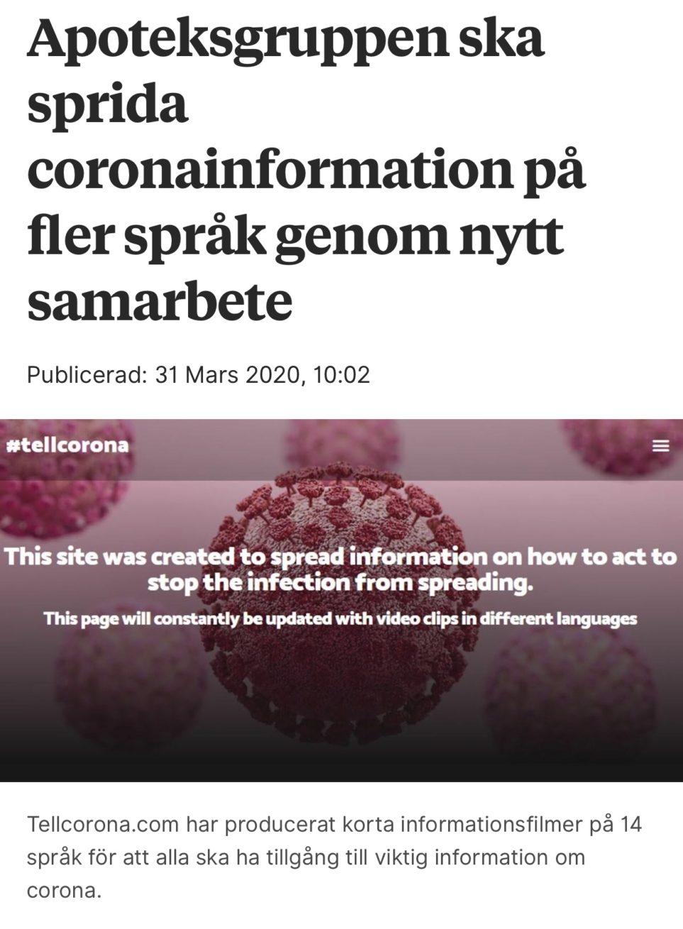 Publicering om Apoteksgrppens samarbete i syfte att sprida coronainformatio på fler språk