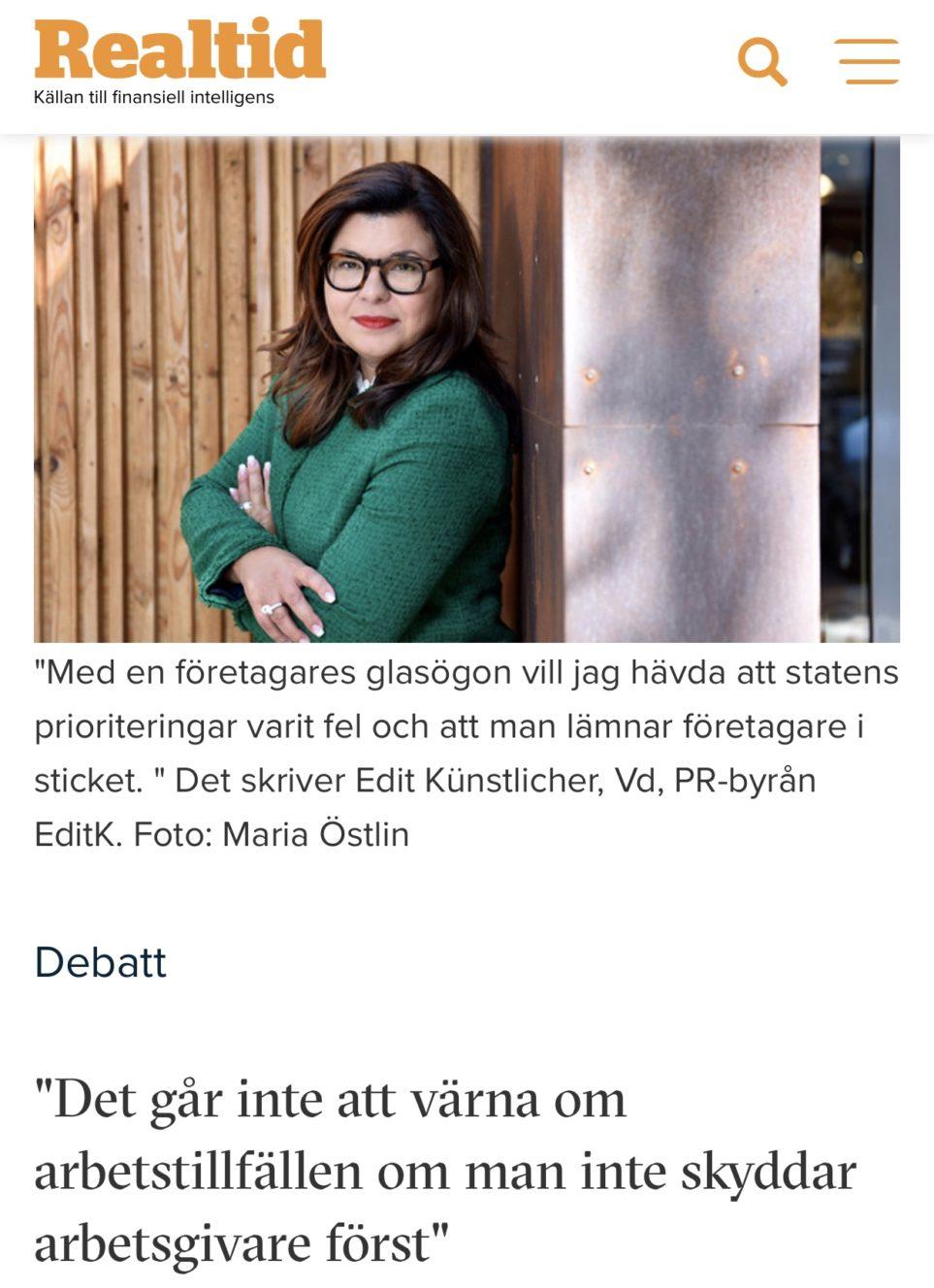 Debattartikel som Edit har skrivit på realtid.se