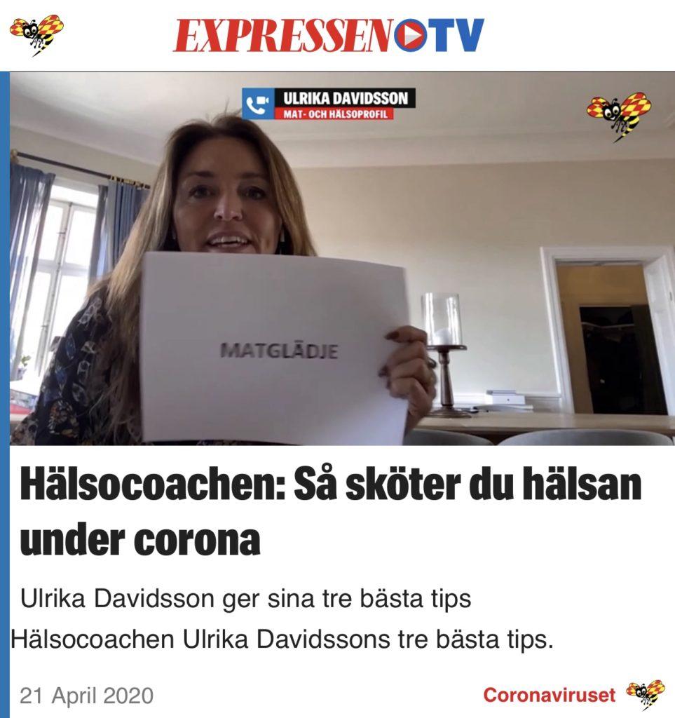 Publicering - Hälsocoachen Ulrika Davidsson i Expressen TV