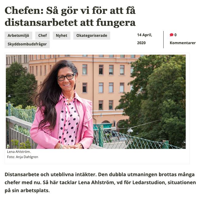 Publicering av intervju med Lena Ahsltröm, VD på Ledarstudion.